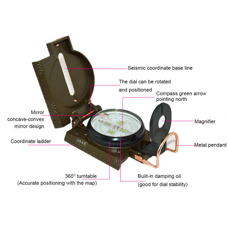 البوصلة المحمولة متعددة الوظائف الرؤية العسكرية الملاحة Lensatic البوصلة مع الميل للتخييم التنزه الظهر