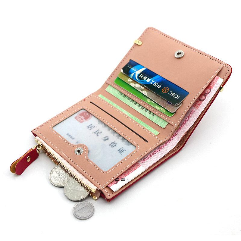 المرأة المحفظة قصيرة المرأة محفظة نسائية للعملات المعدنية موضة محافظ للمرأة حامل بطاقة صغيرة محفظة للسيدات الإناث غلق بمشبك مخلب صغير لفتاة