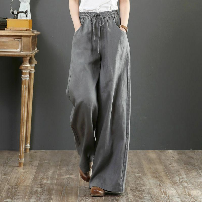 النساء السراويل النسائية الكتان المرأة عادية الكتان السراويل مستقيم الساق السراويل بنطلونات دي موهير