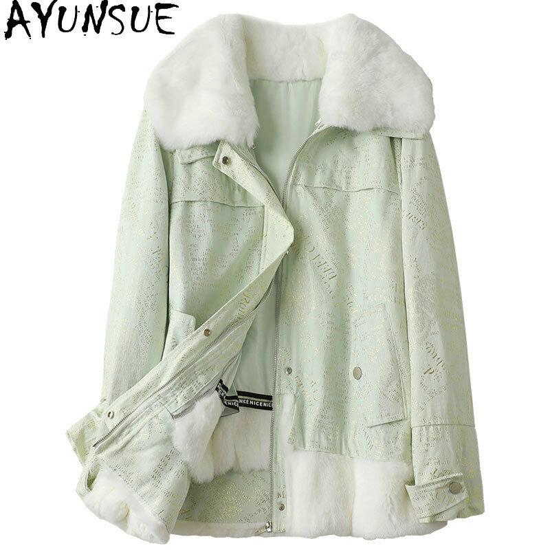 معطف فرو نسائي من AYUSNUE لخريف وشتاء 2021 بطانة من فرو الأرانب الحقيقي سترات قصيرة نسائية دافئة معطف نسائي Gxy434