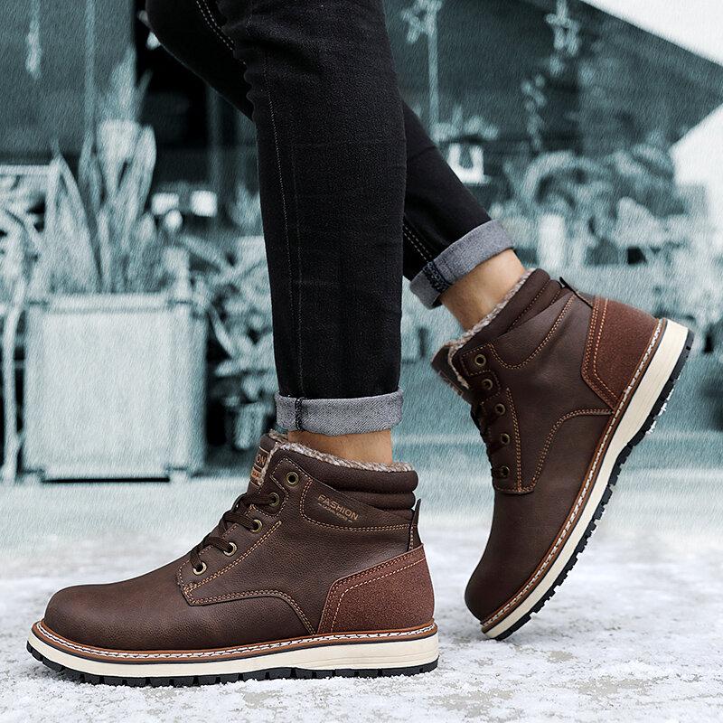 الشتاء رجل 2021 أفخم حذاء الثلوج في الهواء الطلق كعب موضة الدفء أحذية فاخرة الرجال عدم الانزلاق الكاحل بوتاس إضافة القطن عادية 45 46 47
