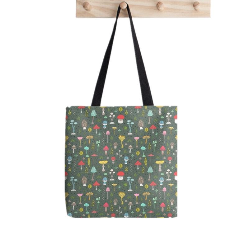 المرأة المتسوق حقيبة القمر لطيف الوردي المطبوعة Kawaii حقيبة Harajuku التسوق قماش المتسوق حقيبة فتاة حقيبة حمل الكتف سيدة حقيبة
