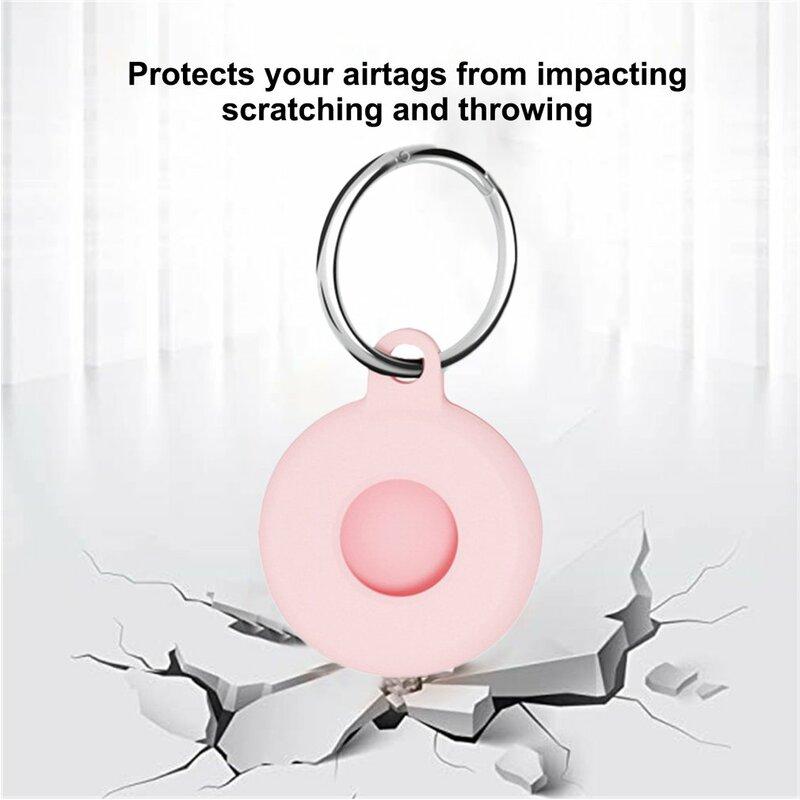 حافظة حماية من السيليكون لجهاز AirTag (جهاز تتبع الموقع) 2021 غطاء حماية مضاد للخدش ومضاد للضياع مع سلسلة مفاتيح