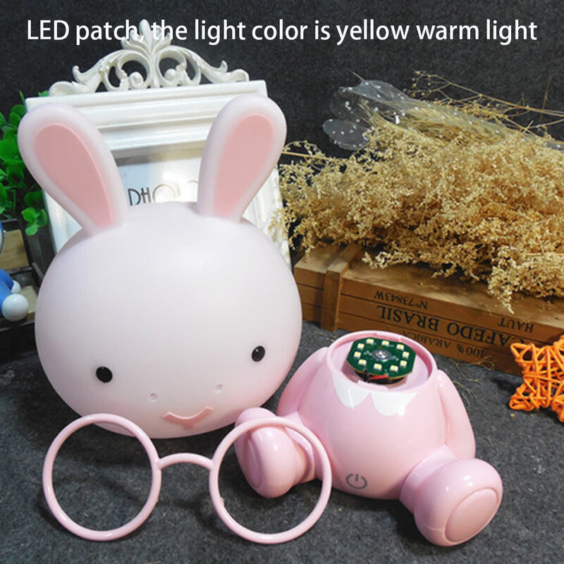 لطيف صغير LED ليلة ضوء لون اللمس ضوء الكرتون أرنب مصباح المحمولة مصباح غرفة النوم إضاءة المنزل حماية العين