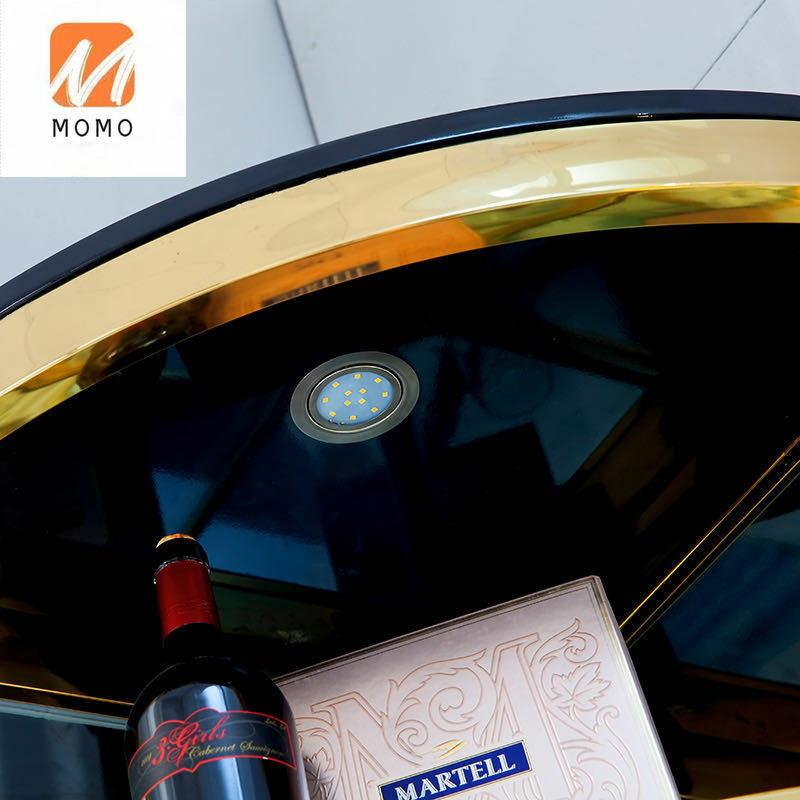 الفولاذ المقاوم للصدأ نبيذ حسب الطلب رف عرض خزانة جانبية فتح الزجاج