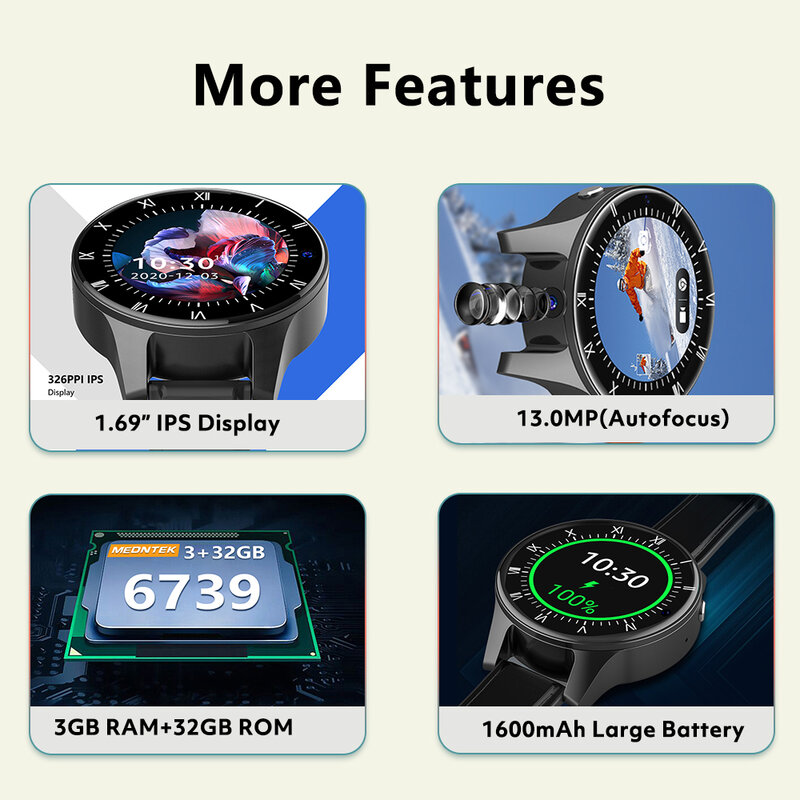روغبيد باندا IP68 5ATM مقاوم للماء ساعة ذكية 3GB 32GB غس كاميرا مزدوجة 13MP 4G ساعة ذكية الهاتف الرجال ل شاومي هواوي