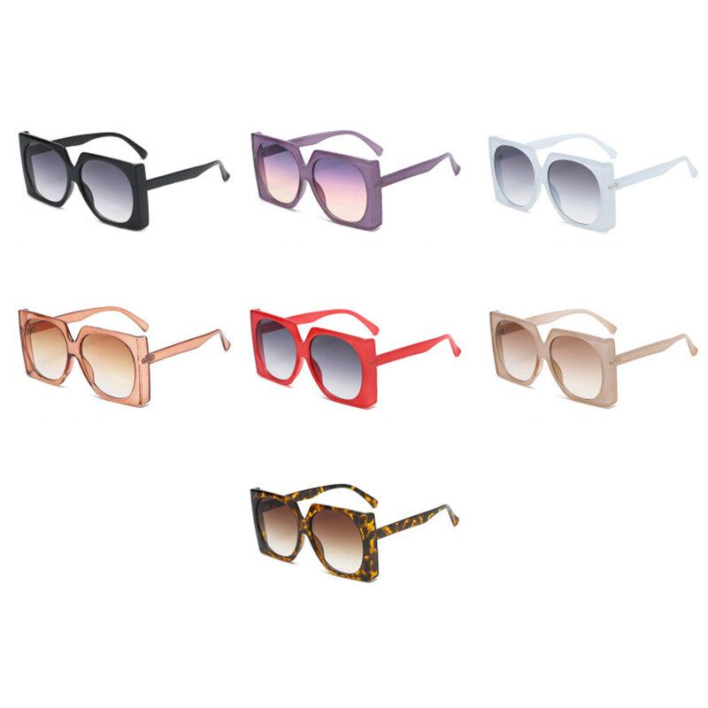 المتضخم القط العين النظارات الشمسية النساء 2021 الفاخرة العلامة التجارية موضة إطار كبير مربع نظارات شمسية للرجال ريترو العصرية Cateye نظارات