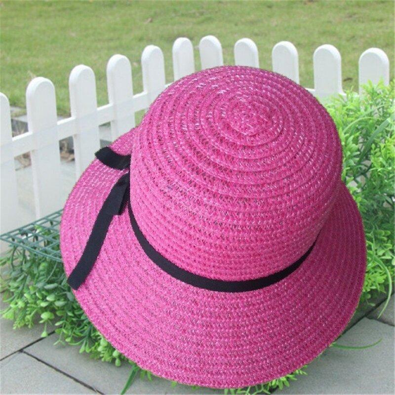 المرنة طوي السيدات النساء القش الشاطئ الشمس قبعة صيفية بيج واسعة حافة الصيف الرجال قبعات الشاطئ للنساء قبعات من القش