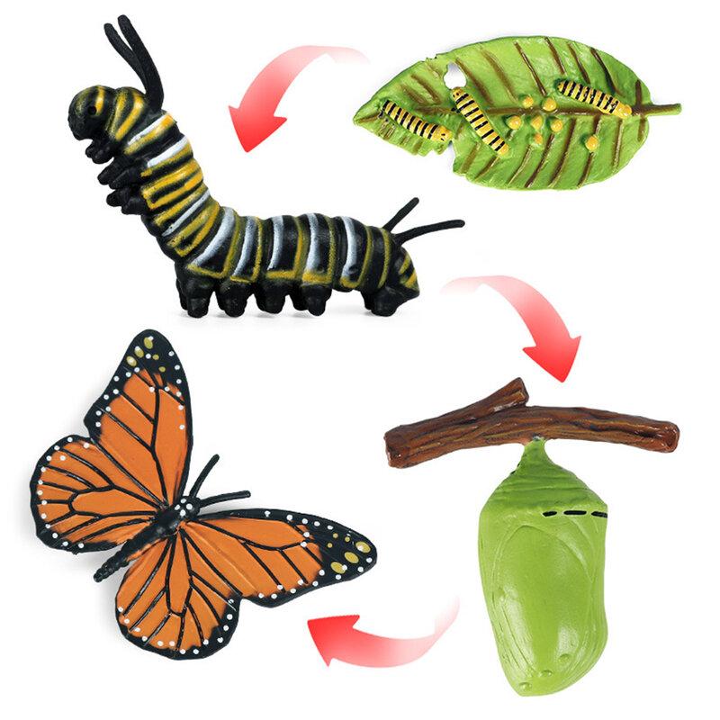 4 قطعة نابض بالحياة الحشرات تمثال الحيوان دورة الحياة لعبة تعليمية للأطفال نموذج النمو الصغار مرحلة ما قبل المدرسة فراشة داخل الدودة
