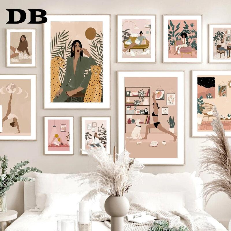 لوحة تجريدية لفتاة اليوجا ليوبارد القط الكلب الشمال المشارك الحديثة جدار الفن يطبع قماش اللوحة ديكور صور لغرفة المعيشة