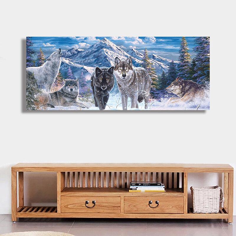الحفر مربع كامل الماس اللوحة التطريز عبر غرزة الذئاب في الجبل الثلوج حجر الراين فسيفساء ديكور المنزل هدية XC0102