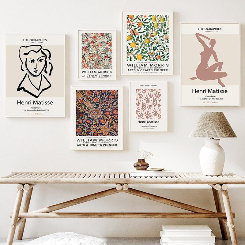 مجردة باوهاوس ماتيس وليام موريس الرسم على لوحات القماش الجدارية الشمال الملصقات والمطبوعات جدار صور لغرفة المعيشة ديكور