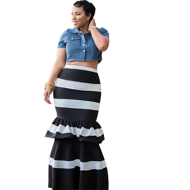Vintage تنورة الرجعية للنساء المشارب بوهو ربيع الخريف عالية الخصر القطن طويل الأفريقي نمط كشكش طبقات مطوي تنورة الإناث