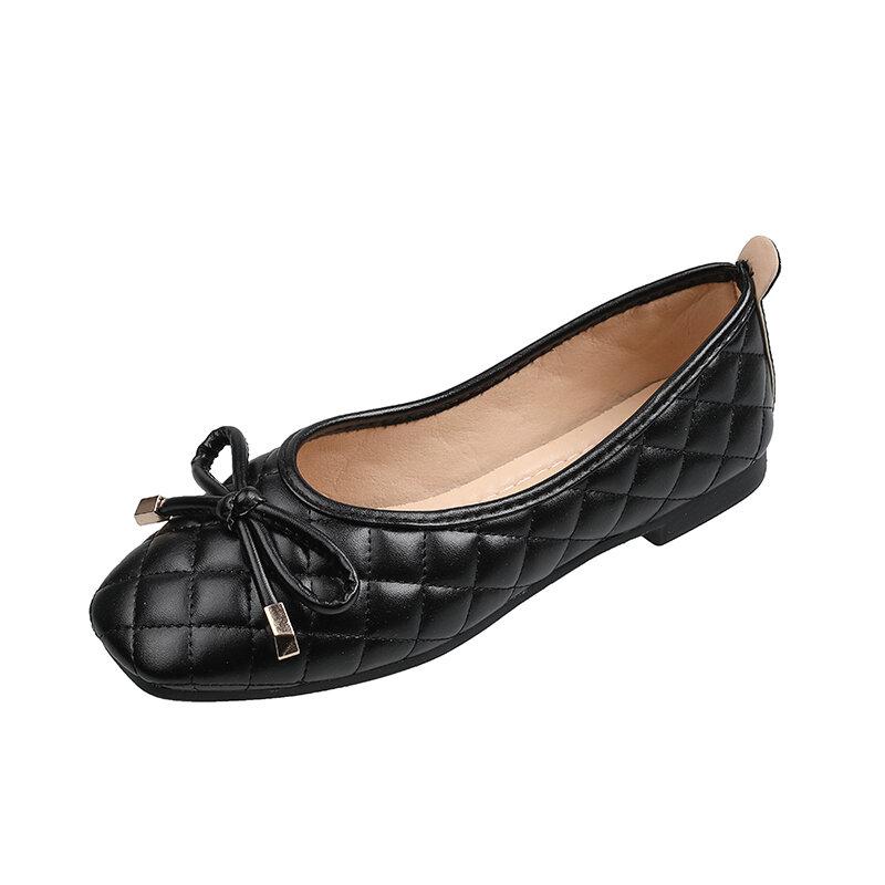 MIYEDA الربيع الصيف حذاء مسطح النساء أحذية بو كسول الصلبة الانزلاق على Squard تو أحذية لوفر Ladiers حذاء كاجوال