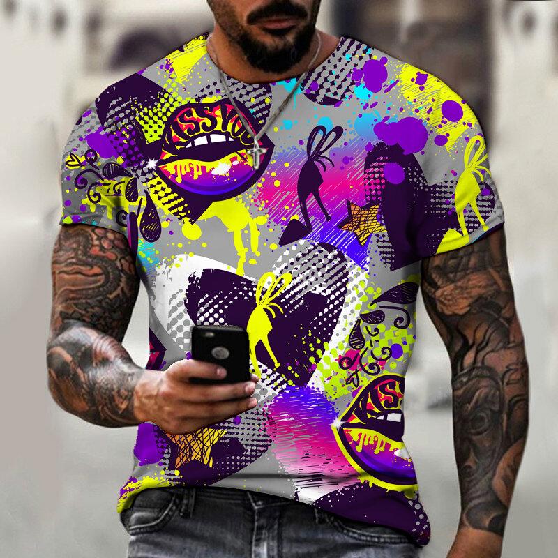 الرجال الهيب هوب الشارع الرجعية تي شيرت الكتابة على الجدران ثلاثية الأبعاد فن الطباعة مضحك سوبر كبير الدولي 2021 الصيف جديد حجم كبير