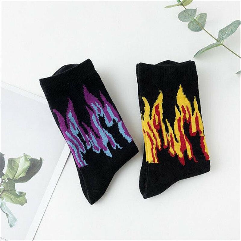 جوارب جديدة للرجال بنمط هيب هوب ملونة على النار جوارب دائرية بلون أحمر لهب مشعل كهربائي شعلة ساخنة للدفء جوارب قطنية