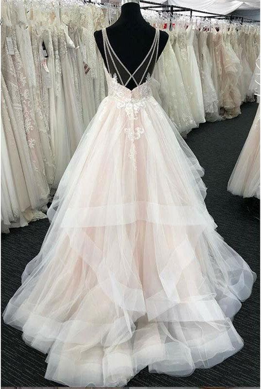 فستان زفاف بوهيمي من الدانتيل المجعد ، فستان زفاف بوهيمي ، 2019