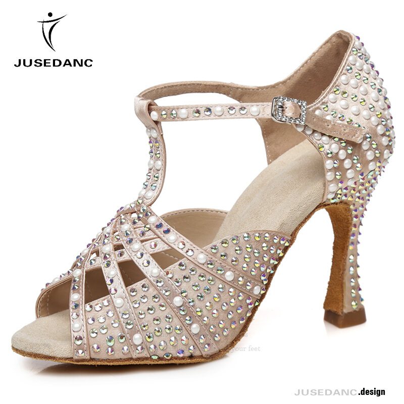 JuseDanc-أحذية رقص لاتينية للنساء من Salsa ، أحذية قاعة الرقص ، أحذية رقص سامبا ، أحجار الراين ، نعل خارجي ناعم من الساتان
