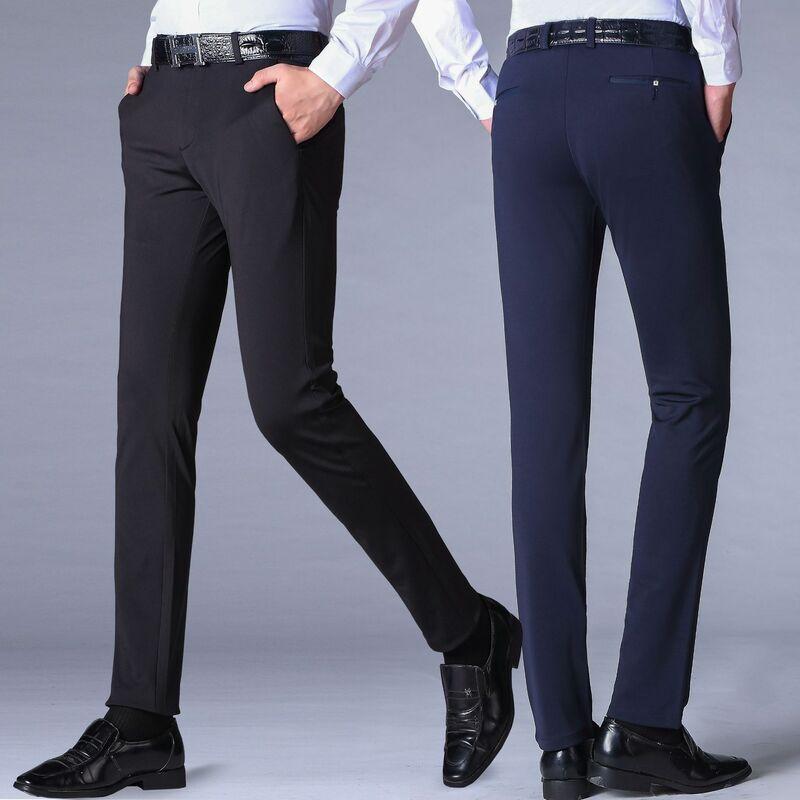 سروال بدلة مرن للرجال ، نمط غير رسمي ، كلاسيكي ، مضاد للتجاعيد ، لفصلي الربيع والصيف