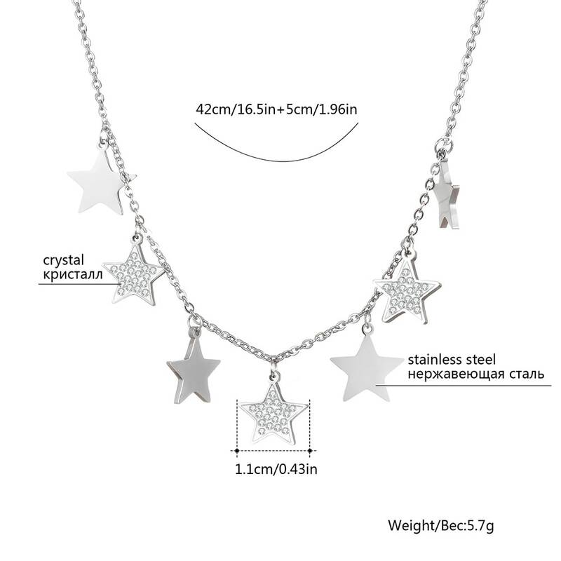 واضح كريستال دلاية شكل نجمة صغيرة قلادة للمرأة ارتفع قلادة ذهبية الفولاذ المقاوم للصدأ القلائد للبنات هدايا مجوهرات الأزياء