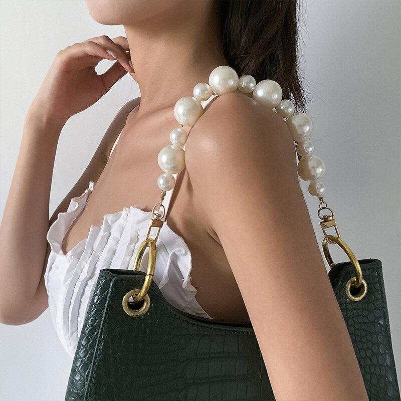 الإناث رائعة تقليد اللؤلؤ حقيبة سلسلة الذهب الفضة اللون سلسلة حقيبة عصرية أنيقة سلسلة اللؤلؤ الزخرفية