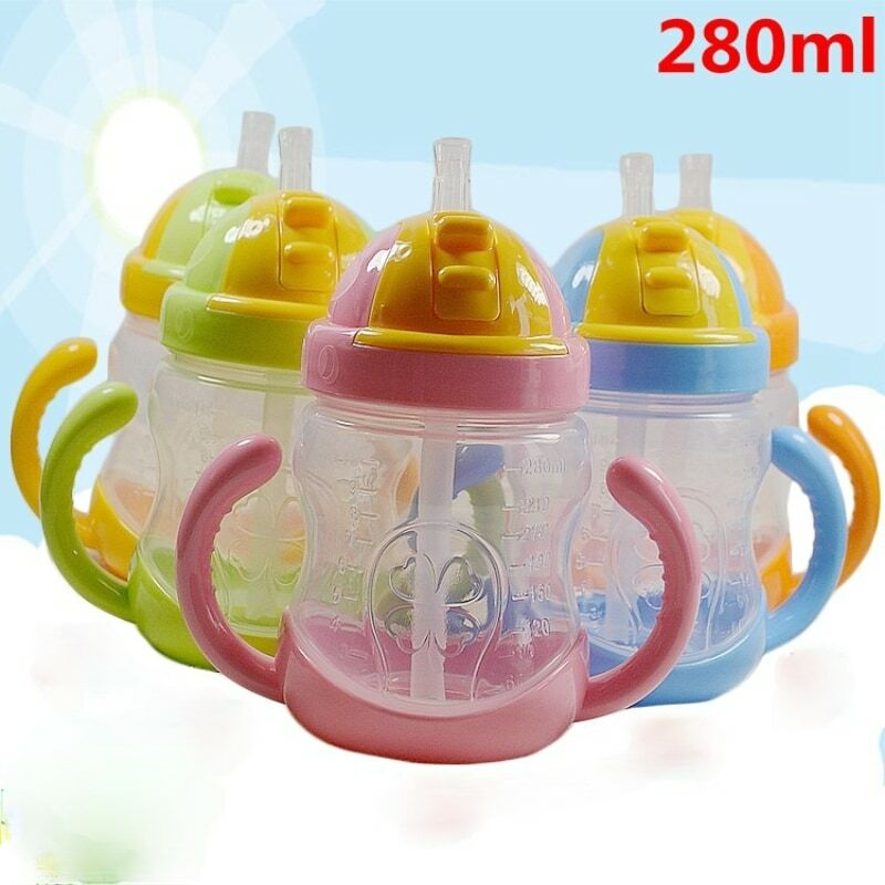 280 مللي شرب كوب الأطفال الكرتون الرضع مقياس كوب بقشة مقبض الطفل مقاومة السقوط زجاجة المياه الكرة