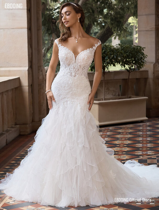 أحدث فستان زفاف حورية البحر الدانتيل فستان زفاف بصدر مفتوح الأكمام مع الكشكشة حجم كبير ثوب العروس 2021 Vestidos De Novia