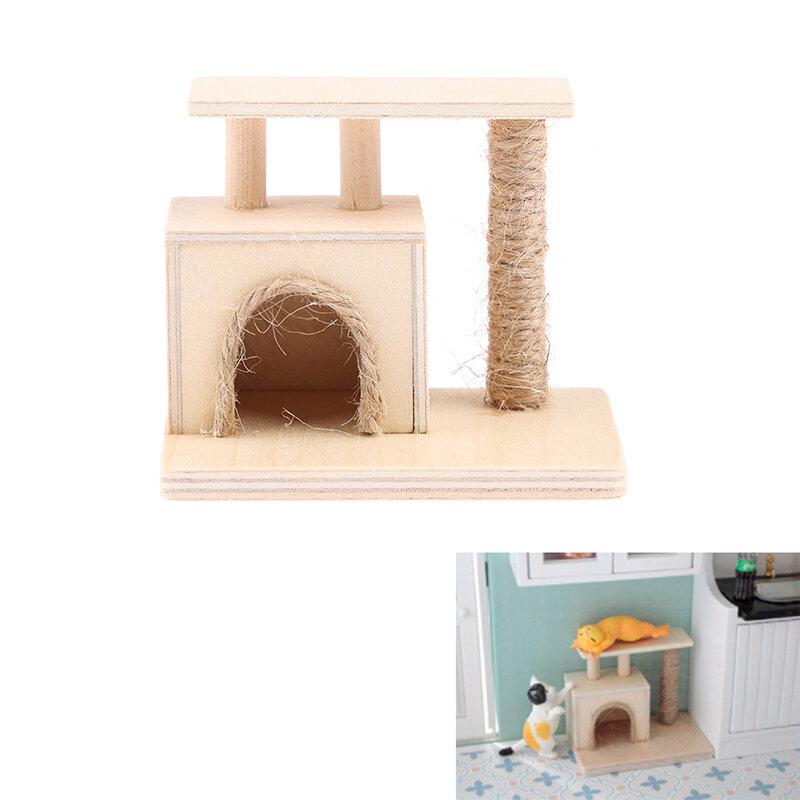 1 قطعة دمية الإبداعية 1:12 مصغرة الخشب القط تسلق نموذج الإطار اكسسوارات الديكور لعب الاطفال اللعب