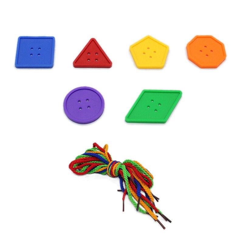 95 قطعة الاطفال DIY زر لغز لعبة 6 اللون زر البلاستيك الحرفية خيوط جلد لعبة للأطفال الصغار