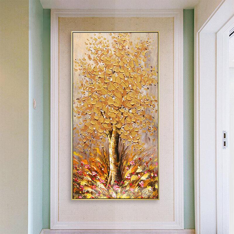5D DIY بها بنفسك الماس اللوحة الخيال مجردة الذهبي الثروة شجرة كامل مربع الجولة الماس التطريز جدار الفن ديكور كبير