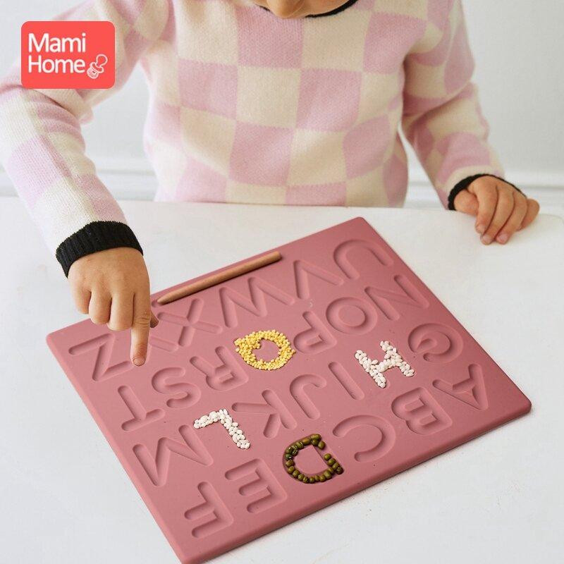 1 مجموعة الطفل خشبية مونتيسوري لوحة تتبعية الخشب مزدوجة الوجهين خطابات المجلس المهارات الحركية الدقيقة لعبة تعليمية الغذاء الصف سيليكون