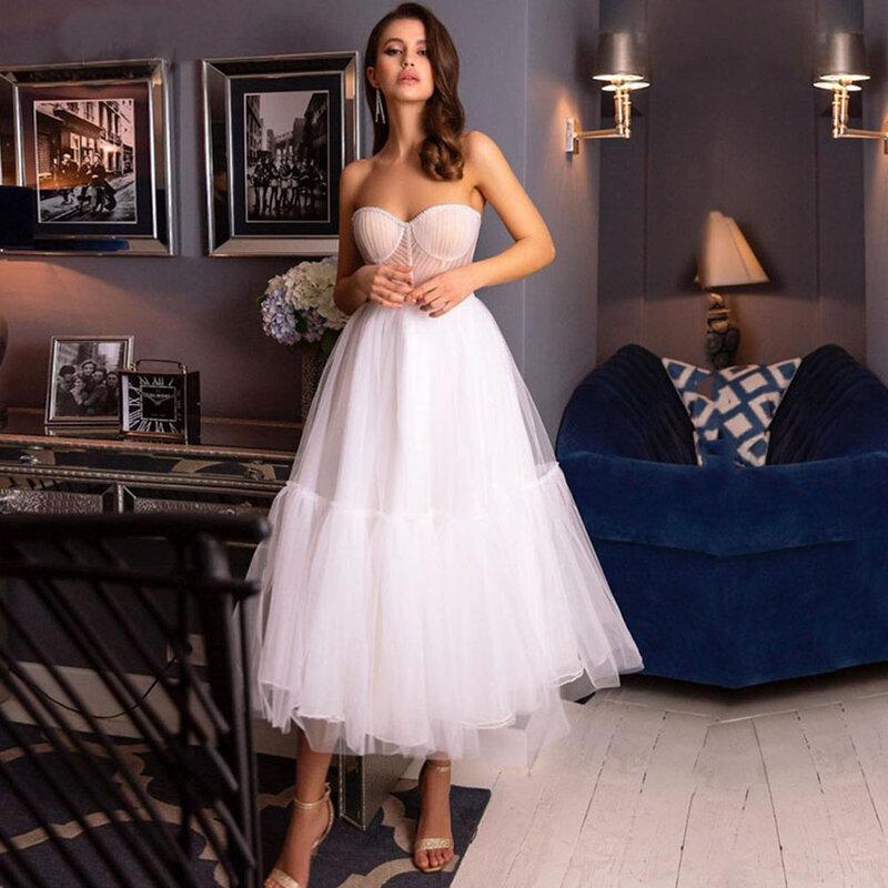 Weilinsha أميرة فساتين لحضور الحفلات الموسيقية طول الشاي تكدرت تول حبيب مناسبة خاصة a-line فستان حفلات الزفاف 2021
