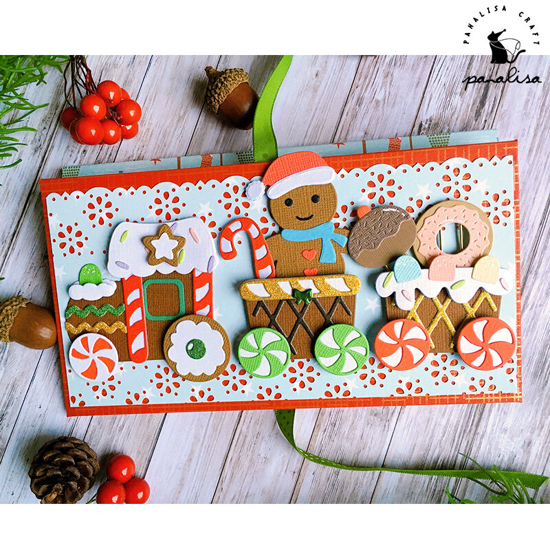Panalisacright هدايا عيد الميلاد قطار المعادن قطع يموت الإستنسل DIY بها بنفسك ألبوم سكرابوكينغ الزخرفية النقش DIY بها بنفسك ورقة بطاقات