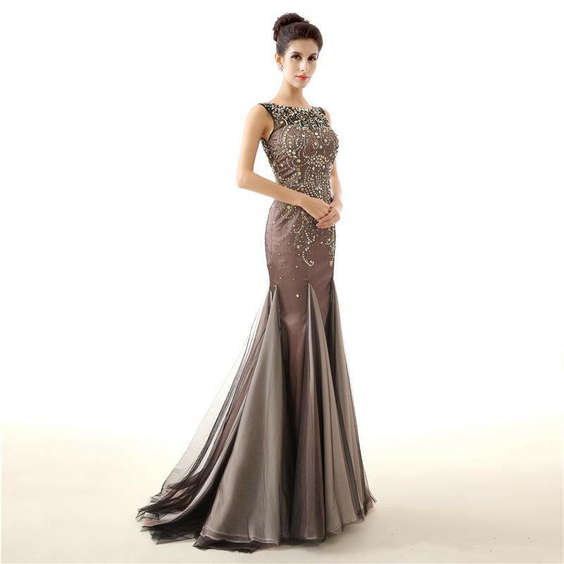 فساتين سهرة ساتان على شكل حورية البحر ، فستان سهرة طويل ، مطرز ، بدون أكمام ، مثير ، ثوب كرة ، صور حقيقية