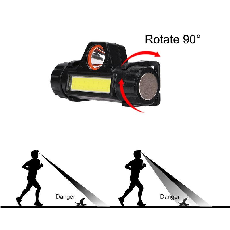 المحمولة 90 مصباح إضاءة متدرج الدورية رئيس مصباح سطوع عالية مقاوم للماء COB LED المغناطيسي الصيد التخييم مصباح للإضاءة في الهواء الطلق