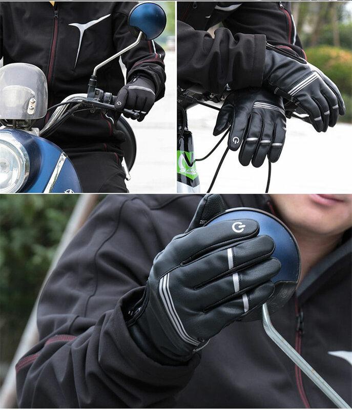 الشتاء قفازات ركوب الدراجات مقاوم للماء يندبروف شاشة تعمل باللمس عاكس الدراجة الجبلية عدم الانزلاق الحرارية كامل فنجر قفازات للرجال النساء