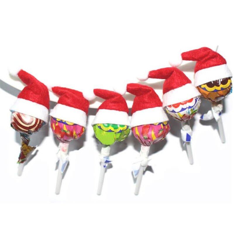 6 قطعة/المجموعة مصاصة عيد الميلاد قبعة صغيرة مصغرة الحلوى سانتا مصاصة الزفاف قبعة حزب DIY الديكور كلوز كاب اكسسوارات Gif W2N5