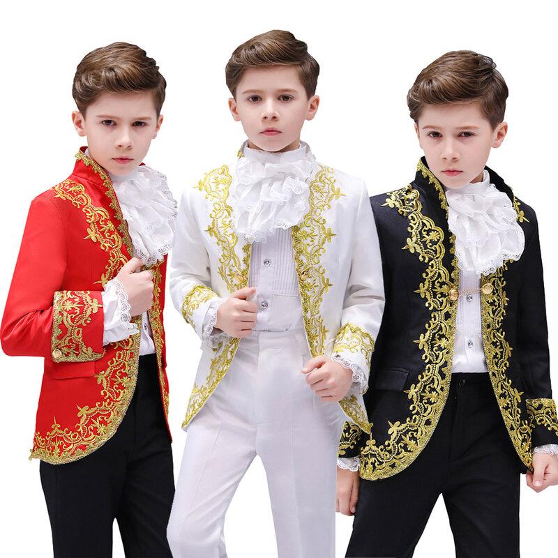 الأولاد النمط الأوروبي المحكمة الدراما زي الأطفال الذهبي زهرة المرحلة الأمير الساحرة الأداء فستان سهرة أطفال السترة الدعاوى