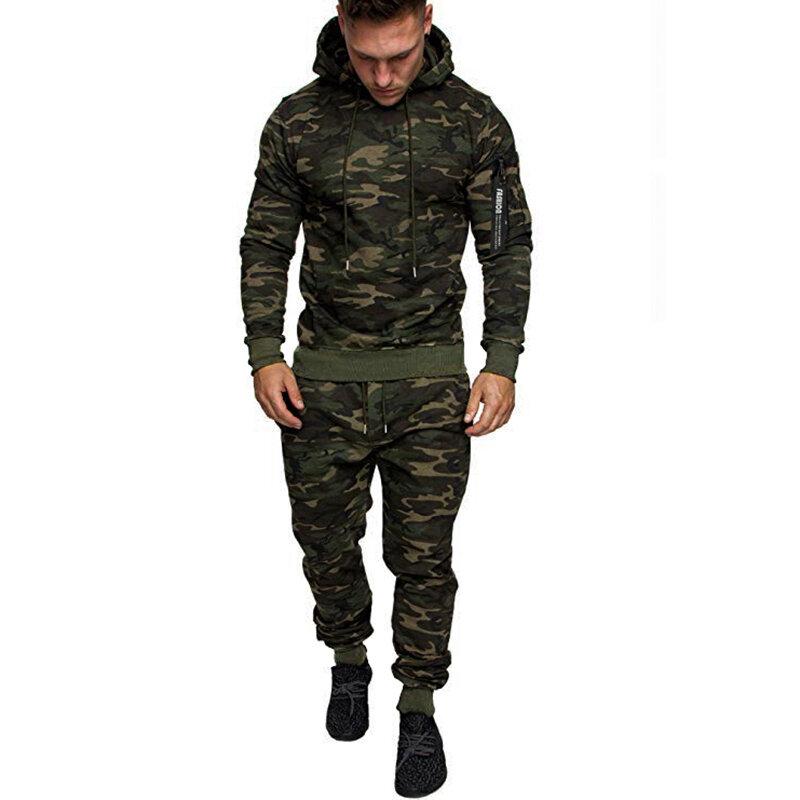 الرجال الخريف والشتاء التمويه سترة ماركة الموضة عارضة أفخم هوديي الصلبة فضفاضة طويلة الأكمام معطف و السراويل