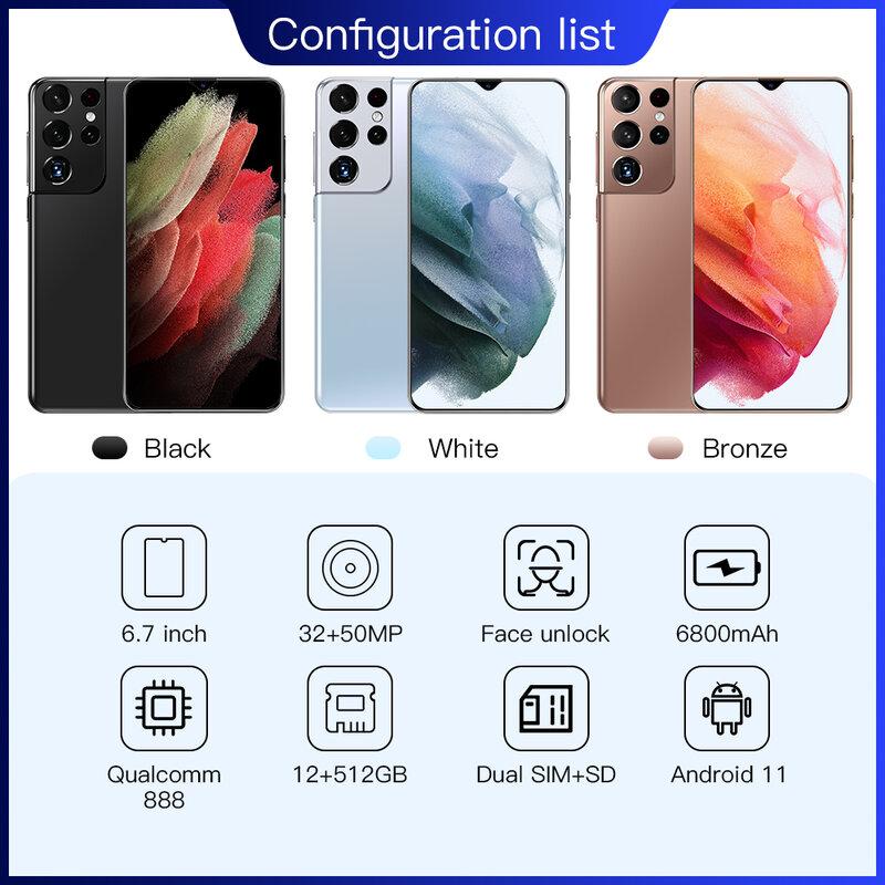 هاتف ذكي 6.7 بوصة الإصدار العالمي S21 Ultra Qualcomm 888 10 core ذاكرة 16 جيجابايت 512 جيجابايت كاميرا 32 ميجابكسل + 50 ميجابكسل 6800Amh يعمل بنظام الأندرويد 11