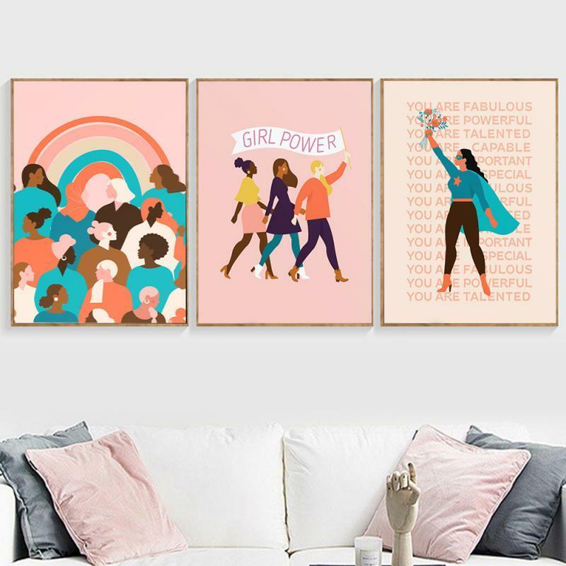 النسوية فتاة الطاقة قماش اللوحة الشمال الحديثة الكرتون امرأة الملصقات والمطبوعات جدار صورة فنية لغرفة المعيشة الديكور