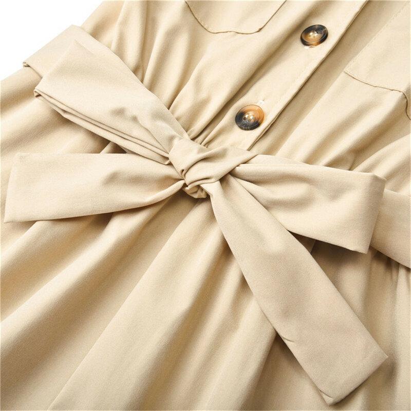 المرأة بدوره إلى أسفل طوق وزرة مع حزام بلاي الدعاوى السروال القصير السيدات عادية فضفاض بلون قصيرة الأكمام حللا قصيرة
