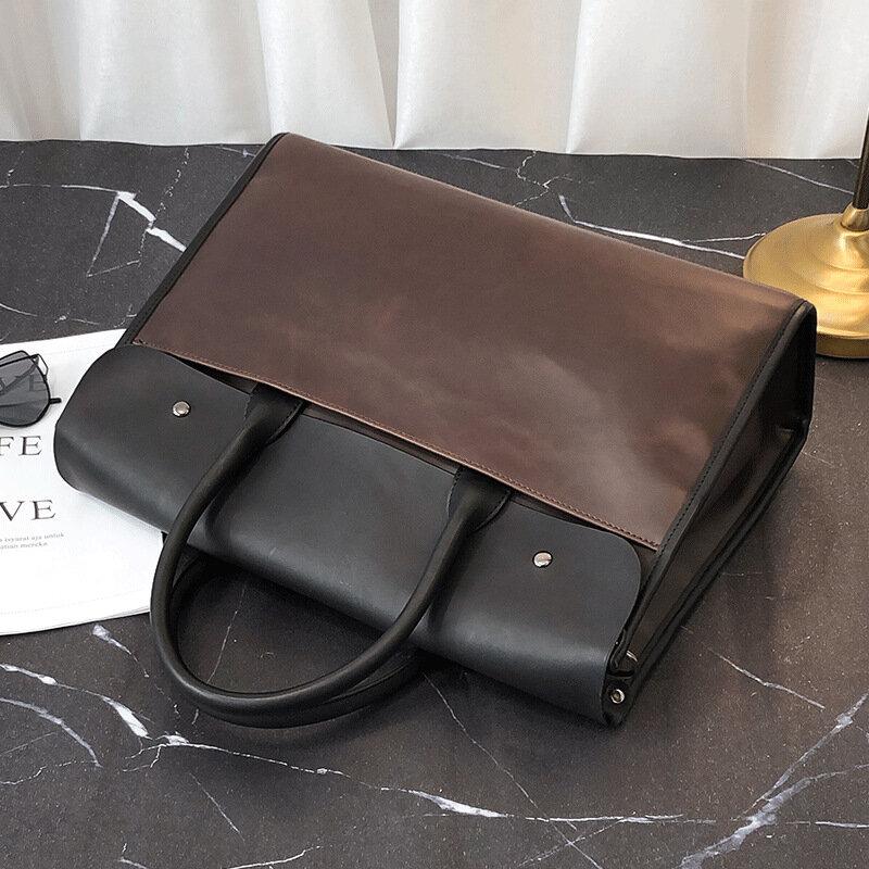الرجال مكتب رسول حقيبة الذكور Vintage حقائب جلدية الموضة سعة كبيرة حقيبة يد للحاسوب المحمول الأعمال حقائب السفر الكتف
