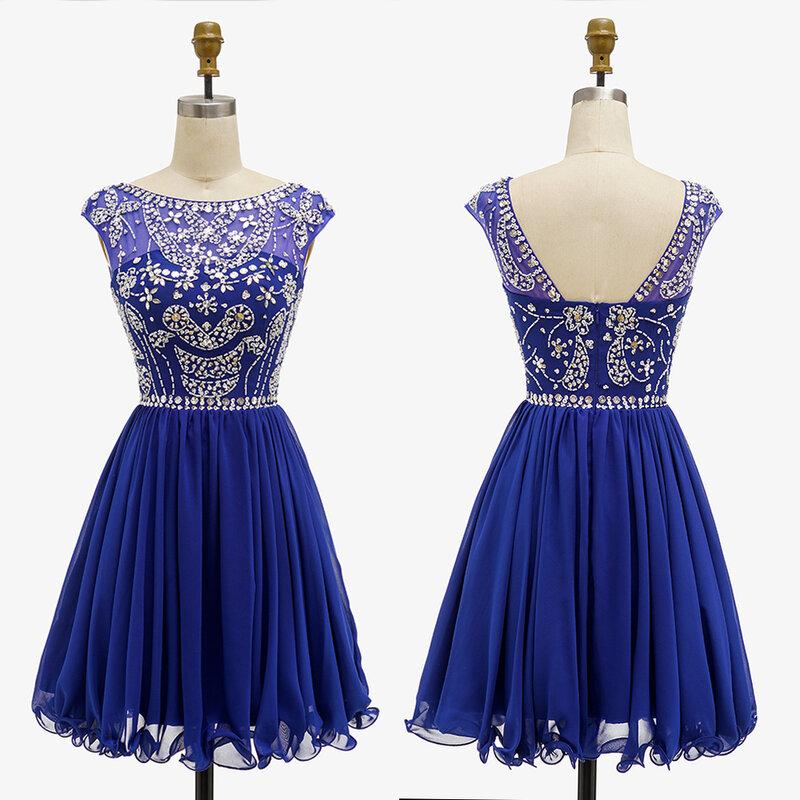 فستان سهرة قصير من الشيفون الأزرق الملكي للبنات ، فستان كوكتيل فوق الركبة مزين بالكريستال