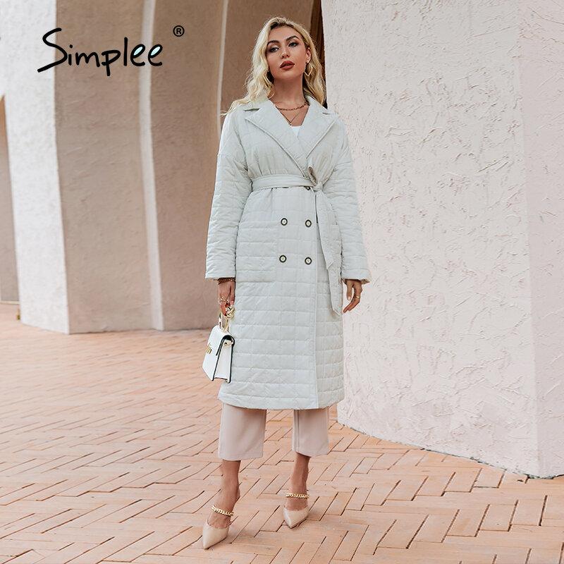 Simplee مكتب الدانتيل يصل فضفاضة المرأة الشتاء سترة الصلبة جيب التلبيب عادية السيدات معطف طويل ضوء الأساسية الإناث سترة منفوخة 2021