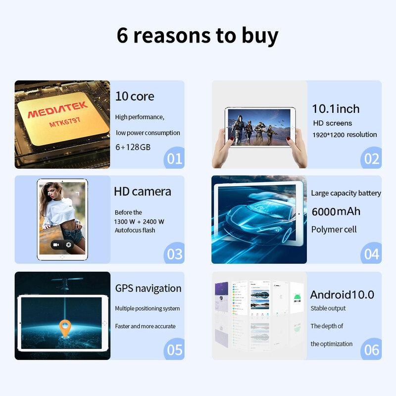 تابلت 10 بوصة 6GB RAM 128GB ROM تابلت أندرويد ثماني النواة أندرويد 10.0 تابلت ثنائي الاتصال 4G شبكة جوجل بلاي Type-C تابلت