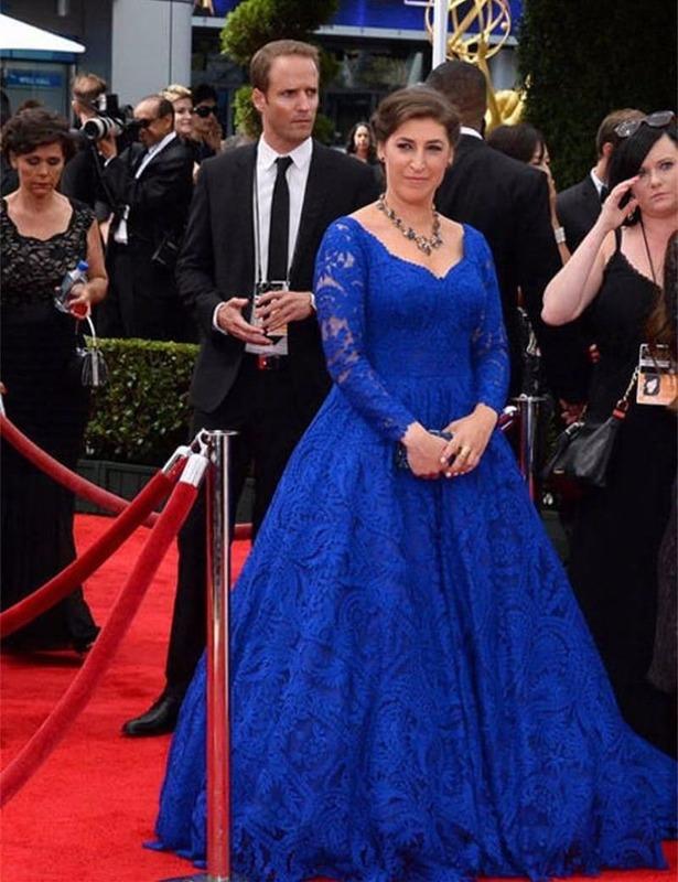 فستان المشاهير باللون الأزرق الملكي ، خط a ، قلب ، أكمام طويلة ، دانتيل ، رسن ، طويل ، رسمي ، للسجاد الأحمر