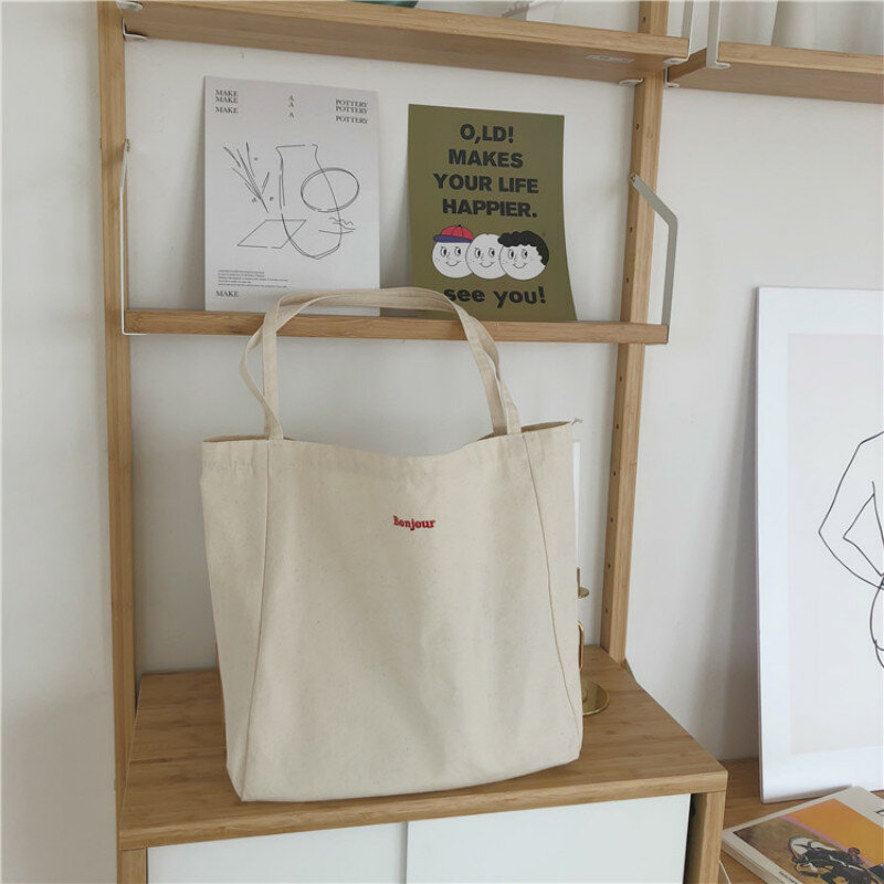 حقيبة قماش قنب جودة عالية قابلة لإعادة الاستخدام حقيبة تسوق بسيطة عادية الاستخدام اليومي حقيبة يد حقائب كتف حقيبة المتسوق المحمولة للطي Totebag