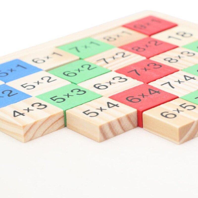 لعبة الرياضيات للأطفال التعليمية للأطفال ألعاب الرياضيات الخشبية مزدوجة الوجهين الضرب الجدول نمط التعلم والتعليم لعبة اللغز