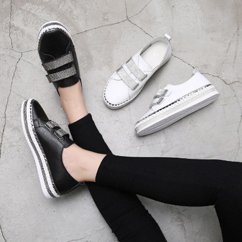 المرأة الفيلكرو حذاء أبيض صغير 2021 ربيع جديد شقة القاع الترفيه الحوامل أحذية نسائية الماس سميكة سوليد الأحذية